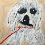 Artist: Angelina Nampijinpa Tasman Title: Dog From Yuendumu Size: 30cm x 30cm On Stretched Canvas Price: $150 (AUD)  Cat No: S0345