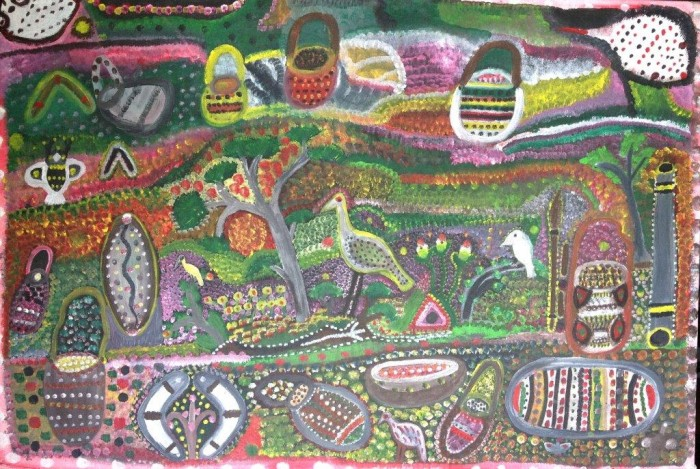 "Artist: Gertie Huddleston Title: ""Season For Food Collecting""  Painted: During 1995 Size: 60cm x 90cm Materials: Acrylic On Canvas Price: $5,500 (AUD) Cat No: C0005"