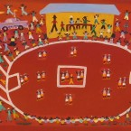 Artist: Karen Bird Title: Football At Ahlpare Size: 117cm x 54cm Materials: Acrylic On Canvas Price: $990 (AUD) Cat No: M0135