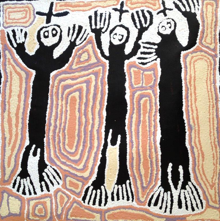 "ARTIST: LYNDA SYDDICK TITLE: Three ""Men"" SIZE: 70cm x 70cm MATERIALS: Acrylic on Linen PRICE: $1,550 (Aud)  CAT NO: C0001"