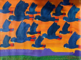 "ARTIST:	Kukula Mcdonald ""Black Cockatoo"" 91cm x 122 $3,900 (Aud) cat no: M0047"