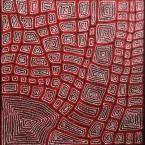 """Artist: Thomas Tjapaltjarri Title: """"Tingari"""" Size: 83cm x 80cm Price: $1,250 (AUD)  Cat No: M0151"""