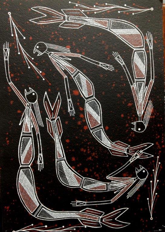 "ARTIST: TYRONE GARNARRADJ TITLE: ""Yawk Yawk"" SIZE: 31cm x 41cm MATERIALS: Ochre on Arches PRICE: $390 (AUD) Cat No: S0202"