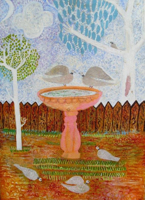 "Artist: Trevor Nickolls (Award Winning Artist)  Title: ""Doves"" Size: 35cm x 51cm Price: $2,200 (AUD)  Cat No: C0009"